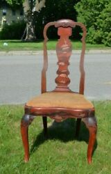 Dutch / Boston Queen Anne Side Chair 1720 Japanned With A Heart Shaped Seat