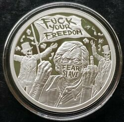 1 Oz 999 Pure Silver Shield Proof Fk Your Freedom Members Only Round Coin Coa