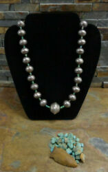 1 Early Navajo Ingot Silver Green Heishi Turquoise Stamped Bench Bead Necklace
