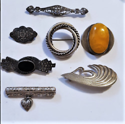Vintage Sterling Silver Baltic Amber Marcasite Rhinestone Lot Pin Brooches