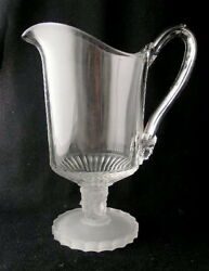 Duncan Glass Three Face Water Pitcher, 10 1/2 H. Eapg