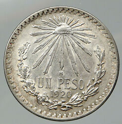 1920 Mexico Eagle Liberty Cap Large Vintage Old Silver Peso Mexican Coin I92116