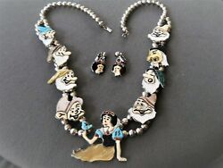 Zuni Disney Snow White 7 Dwarfs And Witch Inlay Squash Blossom Necklace And Earrings