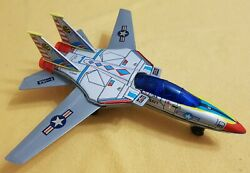 Vintage American Air Force F-14a Battery Operated Tin And Plastic Toy Jet Airplane