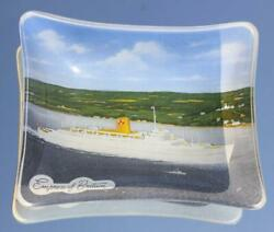 Canadian Pacific Line Empress Of Britain Early Glass Ashtray Onboard Souvenir