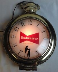 Vintage Budweiser Beer Lighted Sign Synchron Pocket Watch Wall Clock Works