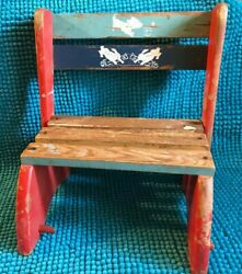 Vintage Wooden Child's Chair Step Stool Dog And Rabbits Design