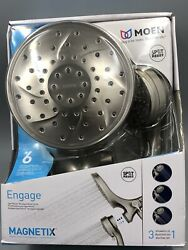 Moen Engage Hand Shower And Showerhead Combo Kit W/ Magnetix Brushed Nickel Used