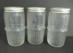 3 Hoosier Sellers Cabinet Spice Jars Ribbed And Textured 4.25 Metal Caps Lot