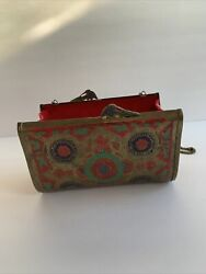"""Vintage Metal Brass Peacock Decorative Purse Shoulder Bag Clutch """"made In India"""""""