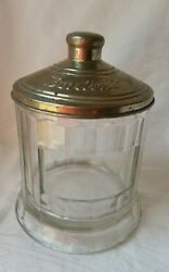 Bordenand039s Antique Jar Malted Milk Container Glass Heavy Glass With Metal Lid Rare