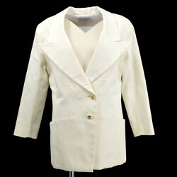 Cc Button Double Breasted Long Sleeve Coat Jacket White Authentic 82375