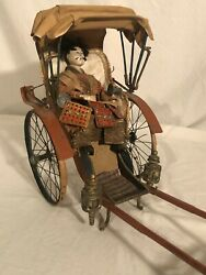 Ives Rickshaw Tin Wood And Composition Toy Circa 1881 Rare+ Large Vintage Toy