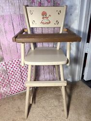 Vintage Cass Toys Wooden Doll Highchair Antique 26 In Tall Great For Vtg Dolls
