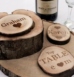 Personalised Rustic Log Slices Coasters. Vintage Wedding Favours Or Place Names