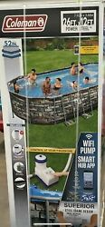 New Coleman 26ft X 12and039 X 52 Power Steel Oval Above Ground Pool Set W/ Wifi Pump