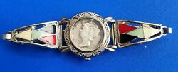 Vintage U.s. Mercury Dime 90 Silver Coin With Silver Tone Watch Band Bracelet