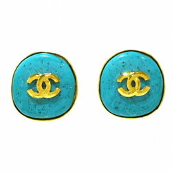 Earring Metal Material Color Stone Gold Green Coco Mark No.5361