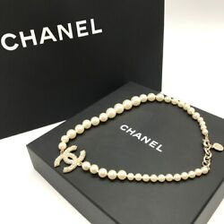 Pearl Necklace Pendant Engraved Coco Mark With Box Present Gift No.5478