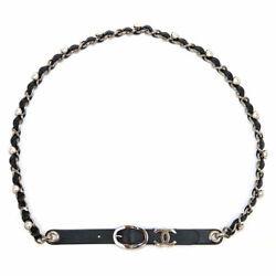 Authentic Costume Pearl Chain Leather Belt Lambskin No.5985