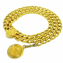 Belt Gold Chain Belt Coco Mark Metal Material Previously Owned No.5888