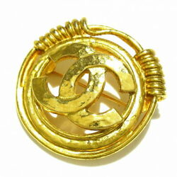 Authentic Previously Owned Brooch Coco Mark Gold Metal Material No.6424