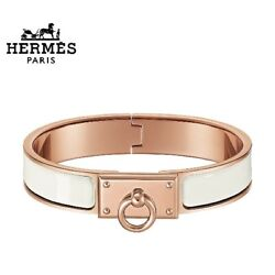 Hermes Bracelet H708000fo31 Enamel Click Anault White Previously Owned No.9553
