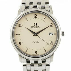 Previously Owned Omega Ss Wristwatch Devil Deville Silver Mens No.4128