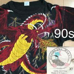 Dragon Total Pattern 90and039s Vintage Short Sleeve T-shirt Size Xl Black Rare