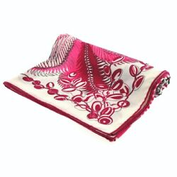 Auth Hermes Chale Carres 140 Cream Pink Multi Cashmere Silk Scarf