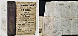 1883 Antique Worcester Ma Directory W Foldout Map History Genealogy Ads Occ