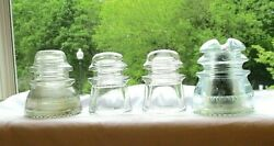 4 Clear Glass Insulators Hemingray Screw Top No. 42 And No. 43 And Two Armstrong 2
