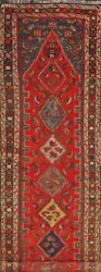 Antique Geometric Heriz Bakhshayesh Russian Runner Rug Hand-knotted Wool 3and039x14and039