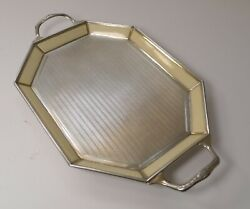 Small Antique Belgian Sterling Silver And Guilloche Enamel Tray C.1920