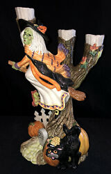 Fitz And Floyd Halloween Harvest Witch Riding Broom Black Cat Candle Holder 68/535