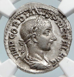 Gordian Iii Authentic Ancient 240ad Rome Old Silver Roman Coin Pietas Ngc I89838