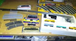 Huge Lot N Scale Train Set Andsteam Engineandextra Trackandcars