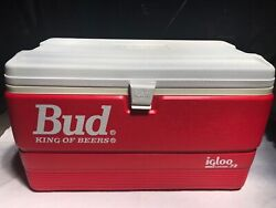 Nos Vintage Red 1980andrsquos Budweiser Igloo Legend 72 Cooler / Bud New Old Stock