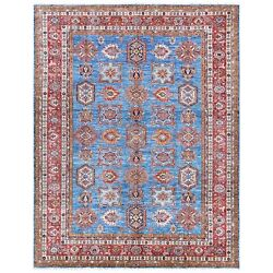 9and0392x11and03910 Denim Blue Caucasian Design Super Kazak Wool Hand Knotted Rug R61147