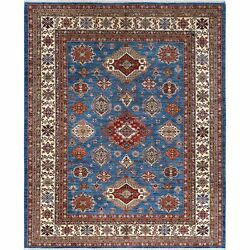 8and0392x10and0392 Wool Blue Super Kazak With Medallion Design Hand Knotted Rug R61167