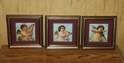Home Interiors Homco Set Of 3 Cherub Angel Pictures Matted And Framed
