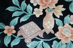 C1950s Antique Art Deco Walter Nichols Chinese Rug 8and0392 X 11and0393 Black Background