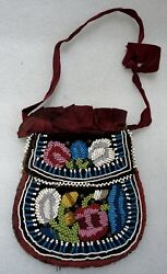 Antique Iroquois Beaded Bag Velvet And Cotton Backing