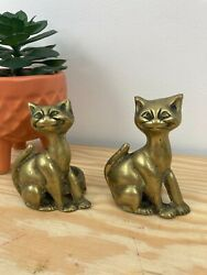 Vintage Peerage Brass Cats. Cheshire Cats. Candle Holders. Knick Knacks