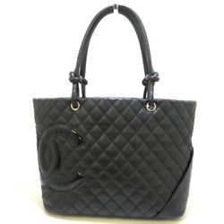 Auth Cambon Line Large Tote Black Pink Lambskin Patent Leather Tote Bag