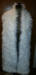 Fendi White Dyed 100 Fox Stole With Knitted Cashmere Trim Nwt