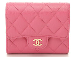 Classic Small Wallet Compact Tri-fold Pink Gold Fittings No.8113