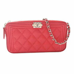 Authentic Caviar Skin Boy Matelasse Chain Wallet Purse Red No.8215