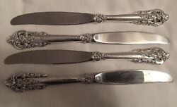 Sterling Wallace Grand Baroque Dinner Knives - Set Of 4 - 9.75