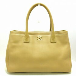 Previously Owned Executive Line Tote Bag Gold Fittings Beige No.6878